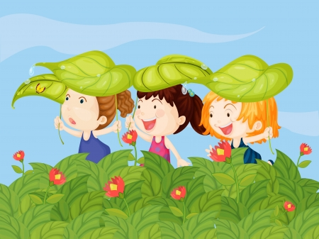 pals: Illustration of three little kids playing in the garden
