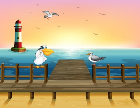 birds scenery: Illustration of the view of the port with the birds