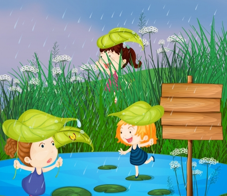 rain cartoon: Illustration of kids playing in the rain