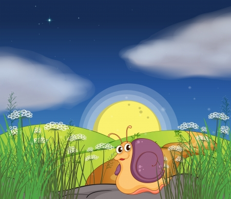 Illustration of a snail in the hills Vector