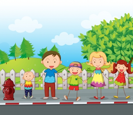 the crossing: Illustration of a family along the road