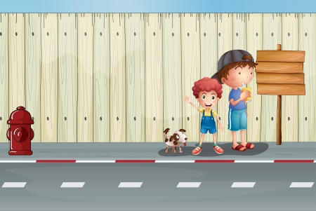 Illustration of boys with their pets in the street Vector
