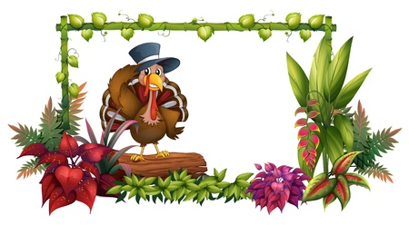 Illustration of a turkey above a trunk in the garden on a white background Stock Vector - 17896353