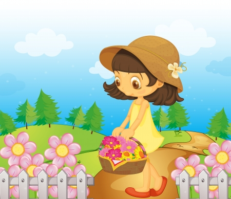 Illustration of a girl collecting flowers Stock Vector - 17895762