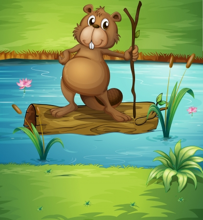 Illustration of a beaver holding a wood in the river Vector
