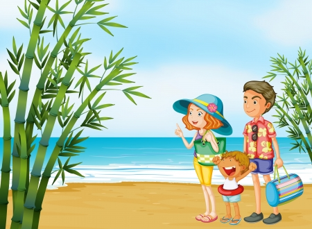 young boy beach: Illustration of a happy family at the beach Illustration