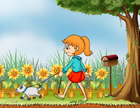 dog walking: Illustration of a girl with her pet in the garden