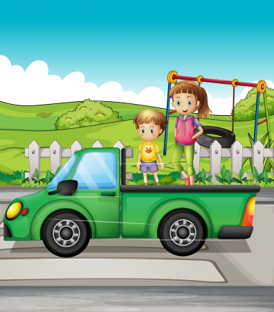 Illustration of smiling kids and a truck Vector