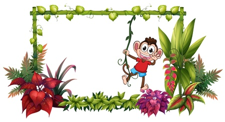 wild nature wood: Illustration of a smiling monkey and plants on a white background