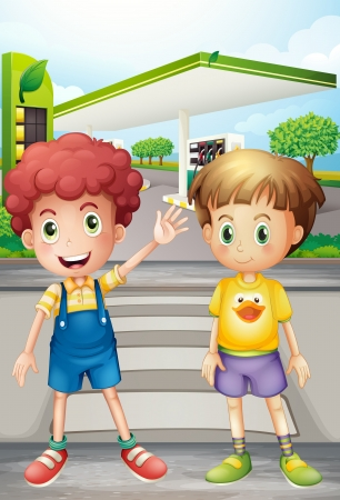 pals: Illustration of two little boys near the gasoline station