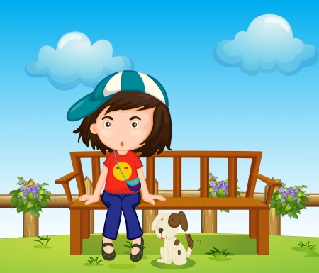 dog park: Illustration of a girl and her pet at the park