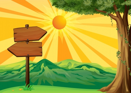 direction board: Illustration of a wooden signboard with a view of the sunset