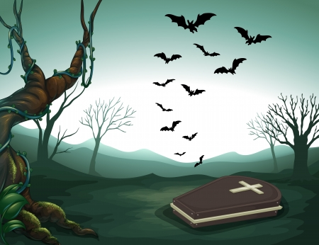 Illustration of a graveyard in the forest Vector