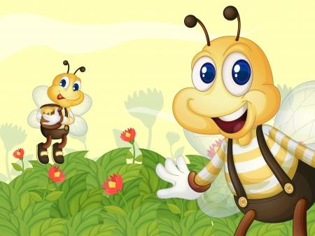 Illustration of honeybees in the garden Illustration