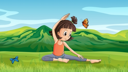 Illustration of a girl doing yoga near the hills Vector