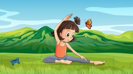 yoga outside: Illustration of a girl doing yoga near the hills