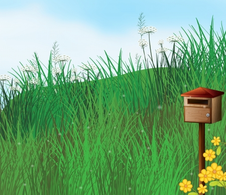 Illustration of a mailbox near the hills Vector