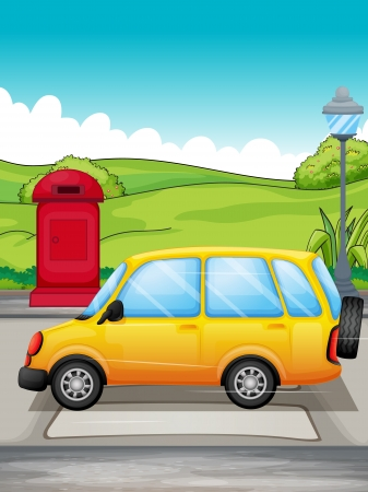 Illustration of a yellow car passing at the pedestrian Vector