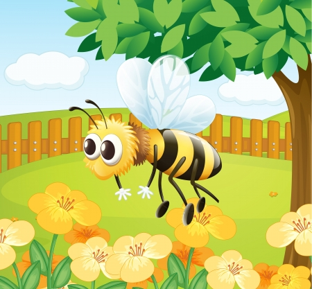 bee pollen: Illustration of a bee in a fenced garden Illustration