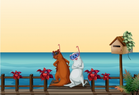 nutria caricatura: Ilustraci�n de lobos marinos en el puerto Vectores