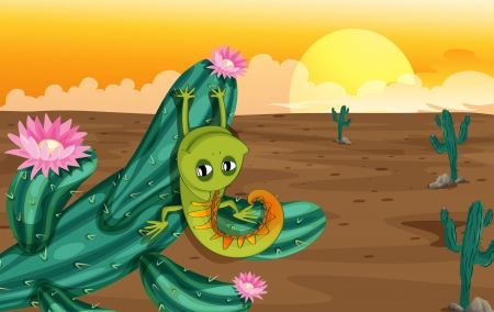 desert lizard: Illustration of a cactus with lizard