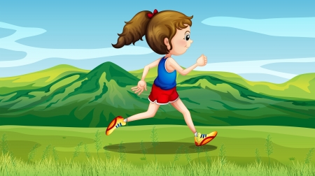 Illustration of a girl jogging near the hills Vector