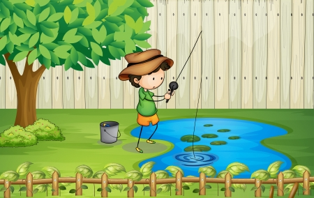 Illustration of a boy fishing at the pond