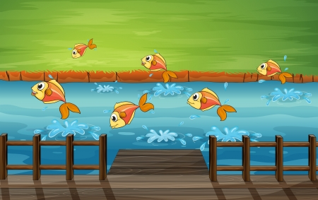 jetty: Illustration of a school of fish Illustration