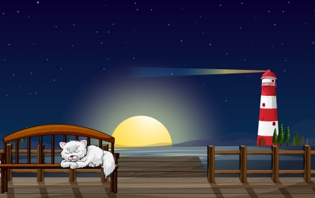 Illustration of a cat sleeping in the seaport Stock Vector - 17895673
