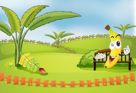 blue sky with clouds: Illustration of a park with bananas Illustration