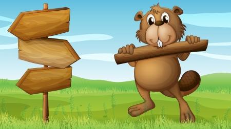 nutria caricatura: Ilustración de un castor en las colinas con un trozo de madera