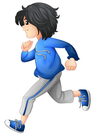 running pants: Illustration of a boy running on a white background Illustration