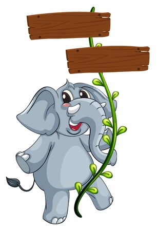 Illustration of a gray elephant and vine plant with signboard on a white background Vector