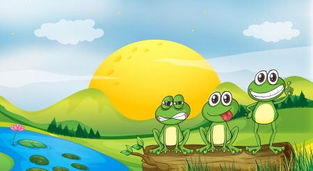 Illustration of three frogs at the riverbank Vector