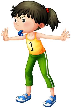 arbitros: Ilustración de una niña con un silbato
