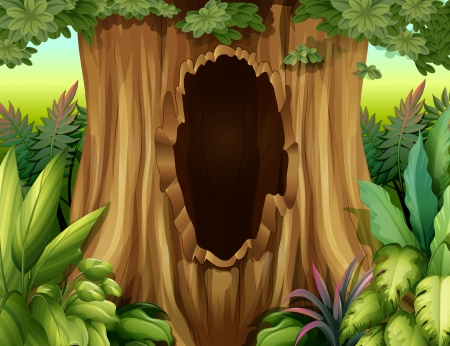 Illustration of a big trunk of a tree with a hole Vector