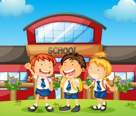 zapatos escolares: Ilustración de tres estudiantes felices Vectores