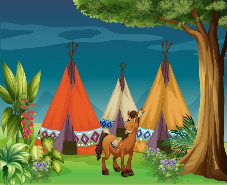 teepee: Illustration of a donkey in the woods Illustration