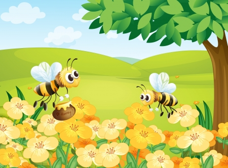 nectars: Illustration of bees looking for foods