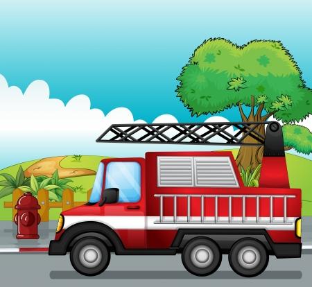fire engine: Illustrazione di un motore di fuoco su una strada