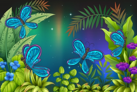 Illustration of a garden with many butterflies Vector