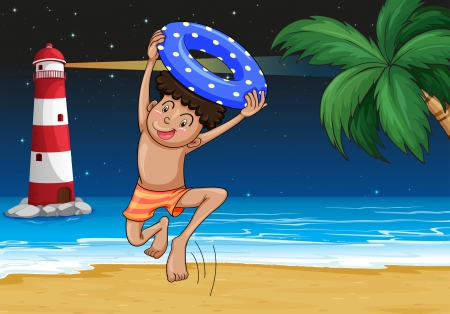 playing in the sea: Illustration of a boy at the beach Illustration