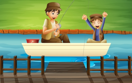 Illustration of kids catching fish in a boat Illustration
