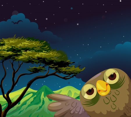 Illustration of an owl in the forest Vector