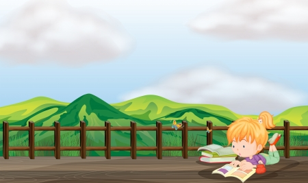bridge in nature: Illustration of a girl studying at the wooden bridge