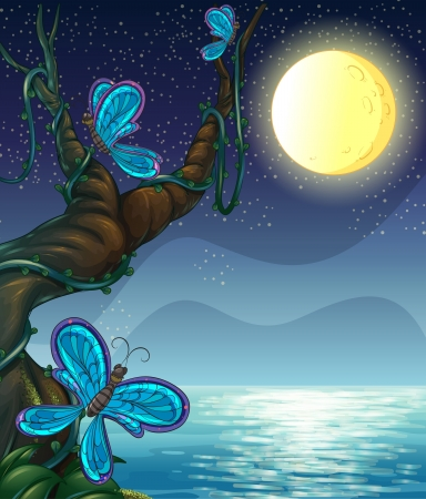 beach butterfly: Illustration of butterflies roaming around a big tree Illustration
