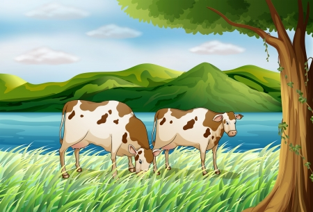 plant stand: Illustration of a cow and a beautiful landscape