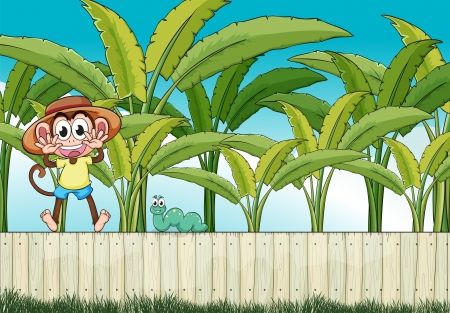 fenced: Illustration of a monkey and the worm