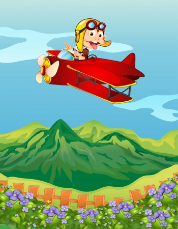 flying monkey: Illustration of a monkey on a red airplane