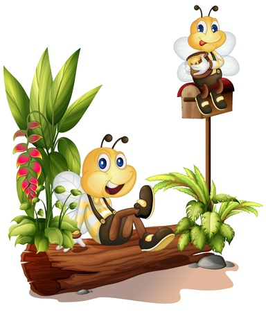 Illustration of bees sitting on a trunk and on the mailbox on a white background Vector